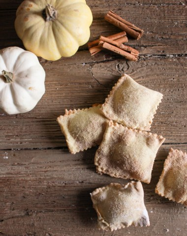 Pumpkin Pie Stuffed Sweet Ravioli, these homemade baked or fried pumpkin pie filled ravioli are a delicious change for a sweet Fall dessert