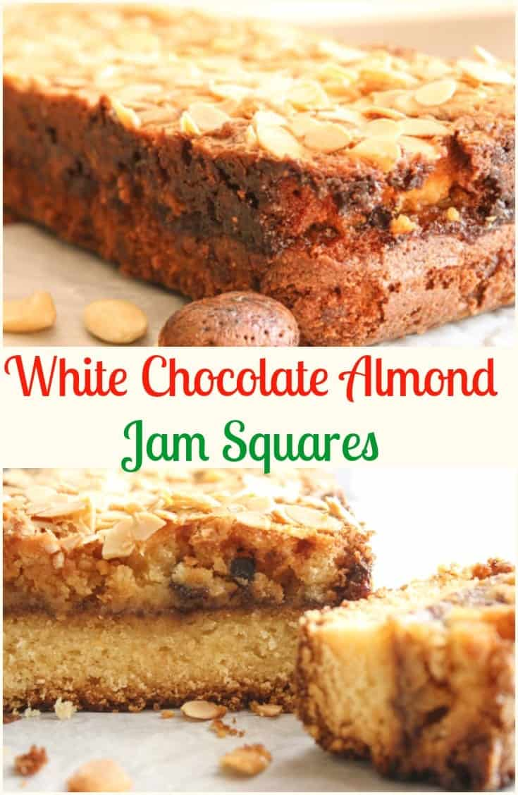 White Chocolate Almond Jam Squares, the perfect #Christmas #Bar #Cookie, white #chocolate and #almonds never tasted so good!