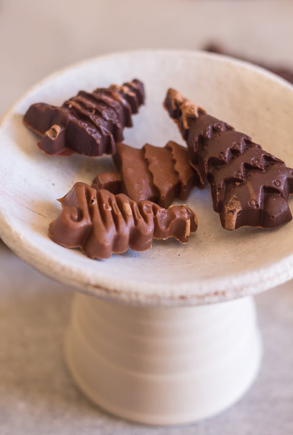homemade filled chocolates on a white plate