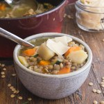 lentil soup in a white bowl with parmesan flakes on top
