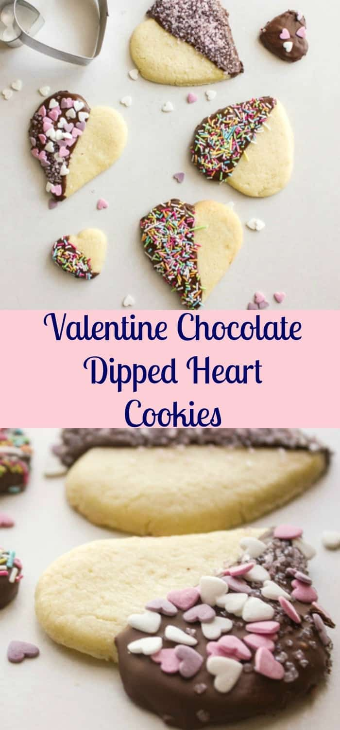 Valentine Chocolate Dipped Heart Cookies,delicious firm butter shape cookies,dipped in chocolate and sprinkles,baking fun with kids perfect for any Holiday.|anitalianinmykitchen.com