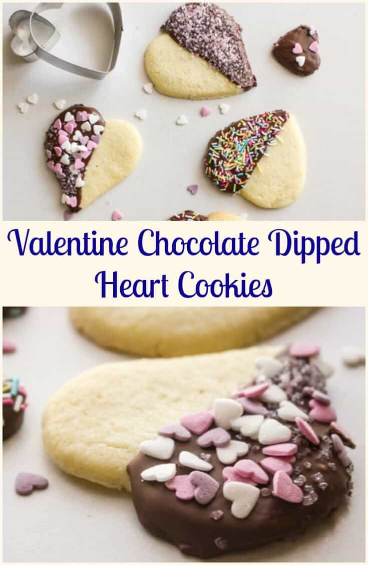 Valentine Chocolate Dipped Heart Cookies, delicious firm butter cookies,dipped in chocolate and sprinkles, perfect baking fun with kids.