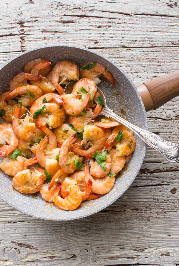 sauteed shrimp cooked in a pan