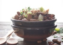 bean salad in a brown bowl