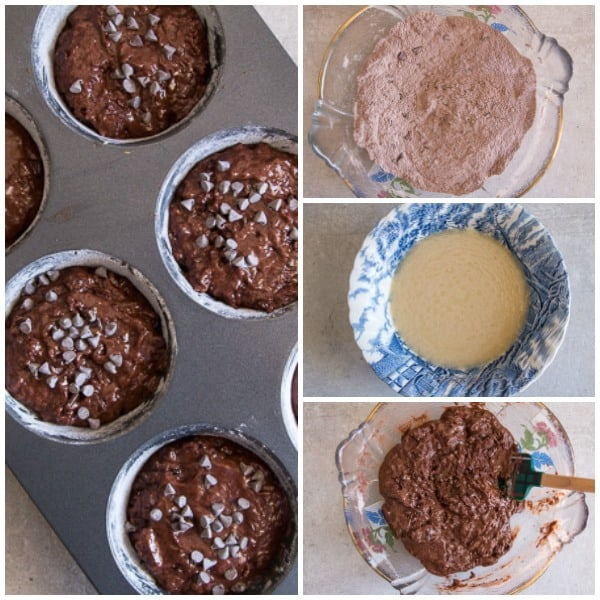 how to make double chocolate chip muffins, dry ingredients, wet ingredients, mixed and in the muffin tin