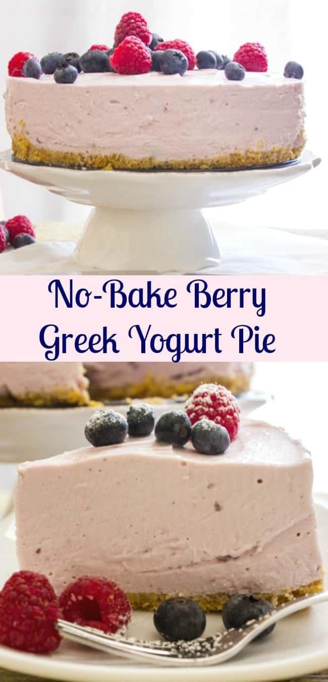 A delicious No-bake Greek Yogurt Pie, an easy recipe, pick your favorite Greek Yogurt flavor. The perfect family dinner dessert. #yogurt #pie #dessert #berrydessert #sweets #nobake #yogurtpie #yogurtcake