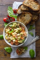 Easy Tomato Avocado Feta Bruschetta a simple & fast appetizer. Fresh ingredients, olive oil and balsamic make this a delicious healthy recipe .