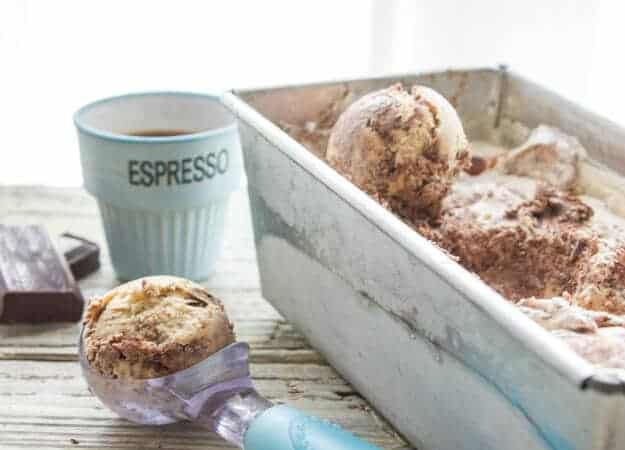 Coffee Chocolate Ripple Ice Cream, a yummy creamy no churn Ice Cream recipe. A fast and easy homemade Summer Dessert treat.