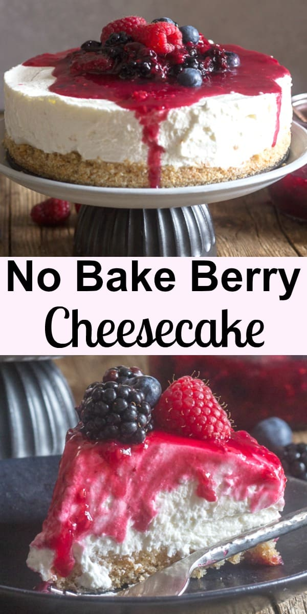 No Bake  Mixed Berry Cheesecake, this cheesecake recipe is the best it will become your favourite no bake dessert.  Fast and easy, creamy and so delicious with an easy raspberry and Blueberry topping. #cheesecake #nobakecheesecake #nobakedessert #berryfilling #summerdessert #dessert