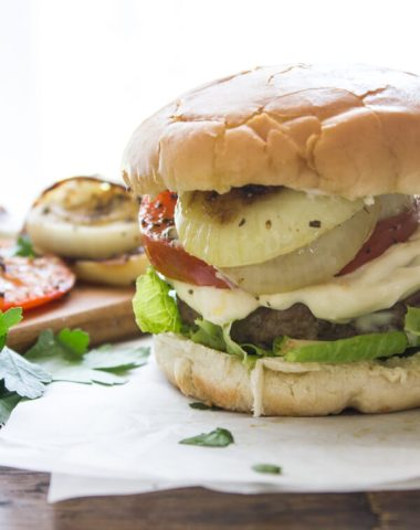 Parmesan Crusted Burgers with Grilled Onions and Tomatoes, your next burger just got amazing, delicious juicy patties and grilled veggies.