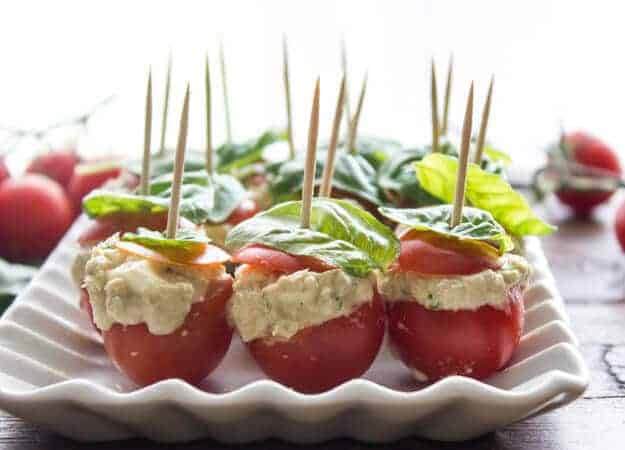 Tuna Mozzarella Stuffed Cherry Tomatoes, a quick and easy creamy tuna mozzarella appetizer recipe. A healthy bite size serving. Delicious.