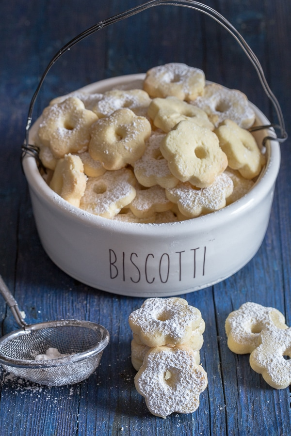 canestrelli on a blue board and in a cookie jar