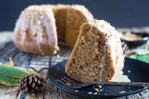 pumpkin cake a slice on a black plate