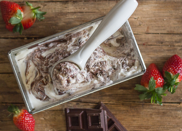 chocolate strawberry ripple ice cream in a loaf pan
