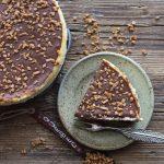 Vanilla and Dark Chocolate make this Homemade Vanilla Chocolate Cheesecake the Best Decadent Dessert.Perfect sprinkled with Skor Toffee Bits.
