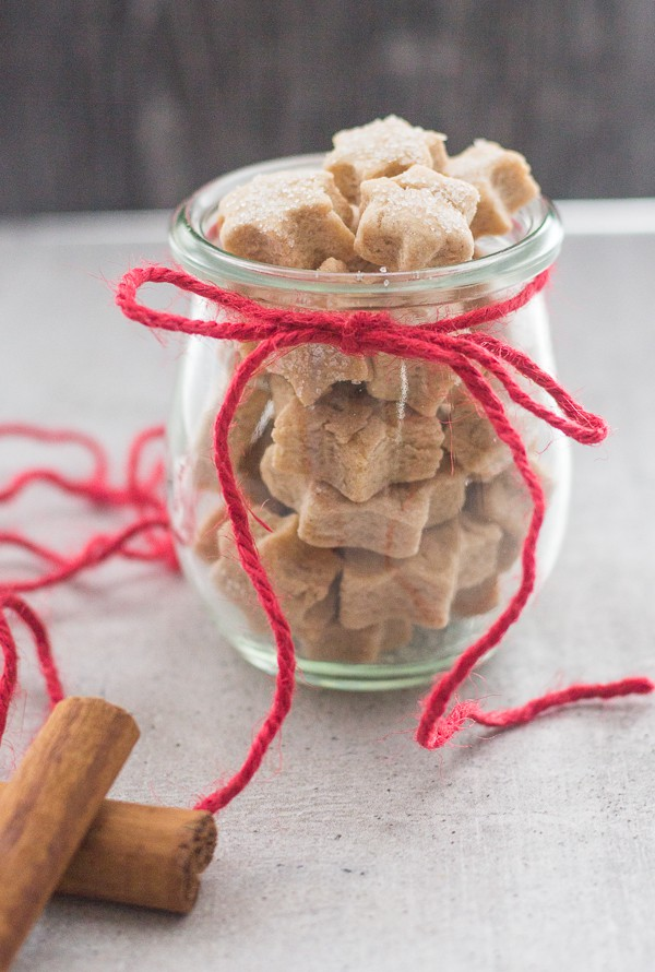 mini star cinnamon sugar cookies in a jar with a red wool bow