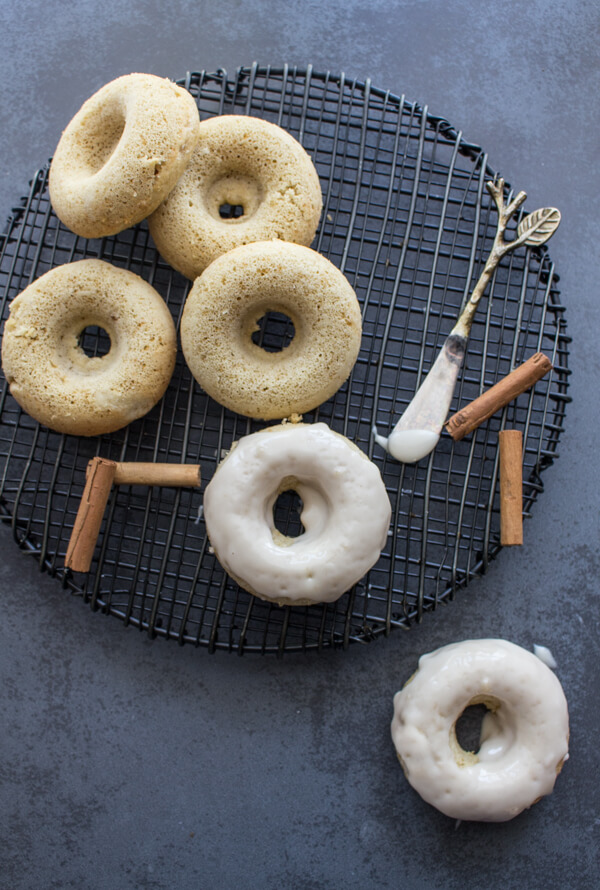 Apple Butter Cake Donuts a breakfast,snack or dessert treat, baked soft and light. Topped with a Maple Frosting makes them perfect.