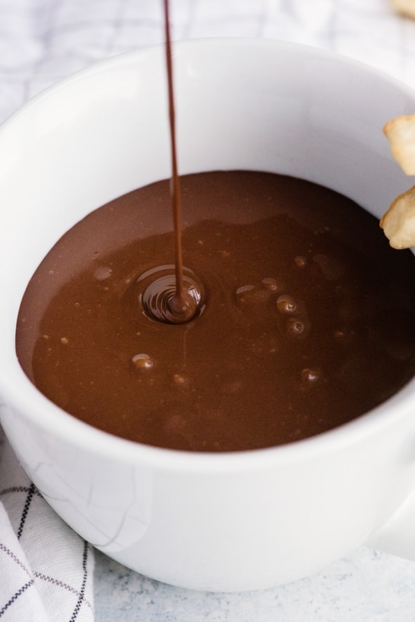 Italian hot chocolate in a white cup