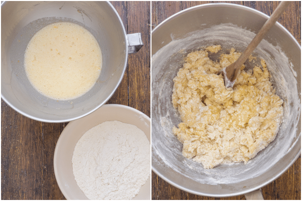 almond biscotti how to make egg mixture and whisked flour in bowls, mixing it together