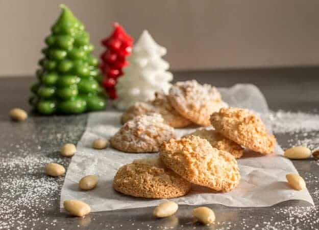 Amaretti Cookies,a sweet Italian Almond Cookie crispy on the outside and chewy on the inside cookie recipe.Fast & easy,gluten and dairy free.