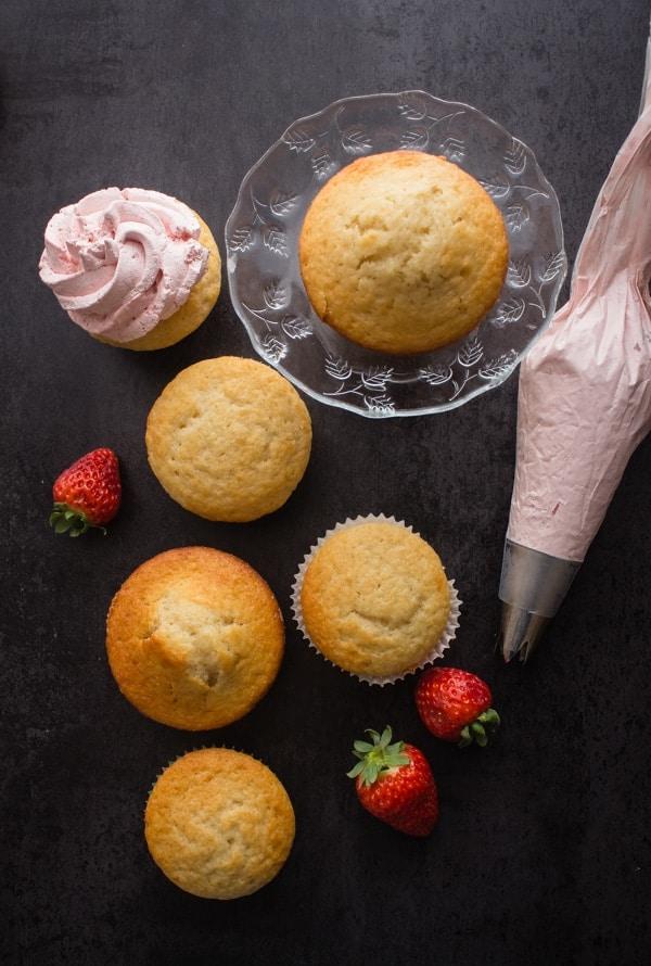 Homemade Strawberries and Cream Cupcakes