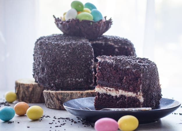 Chocolate Easter Egg Nest Cake, a deliciously Chocolatey Cake