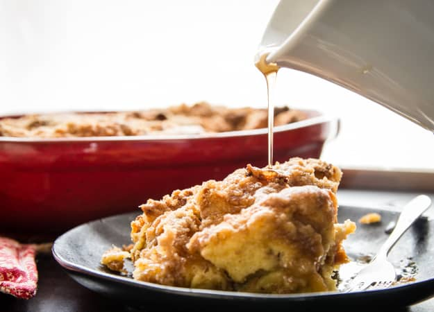 Italian Easter Bread Breakfast Casserole, an easy Cinnamon Breakfast Bake, a crunchy topping makes it Perfect, no need for an overnight soak.