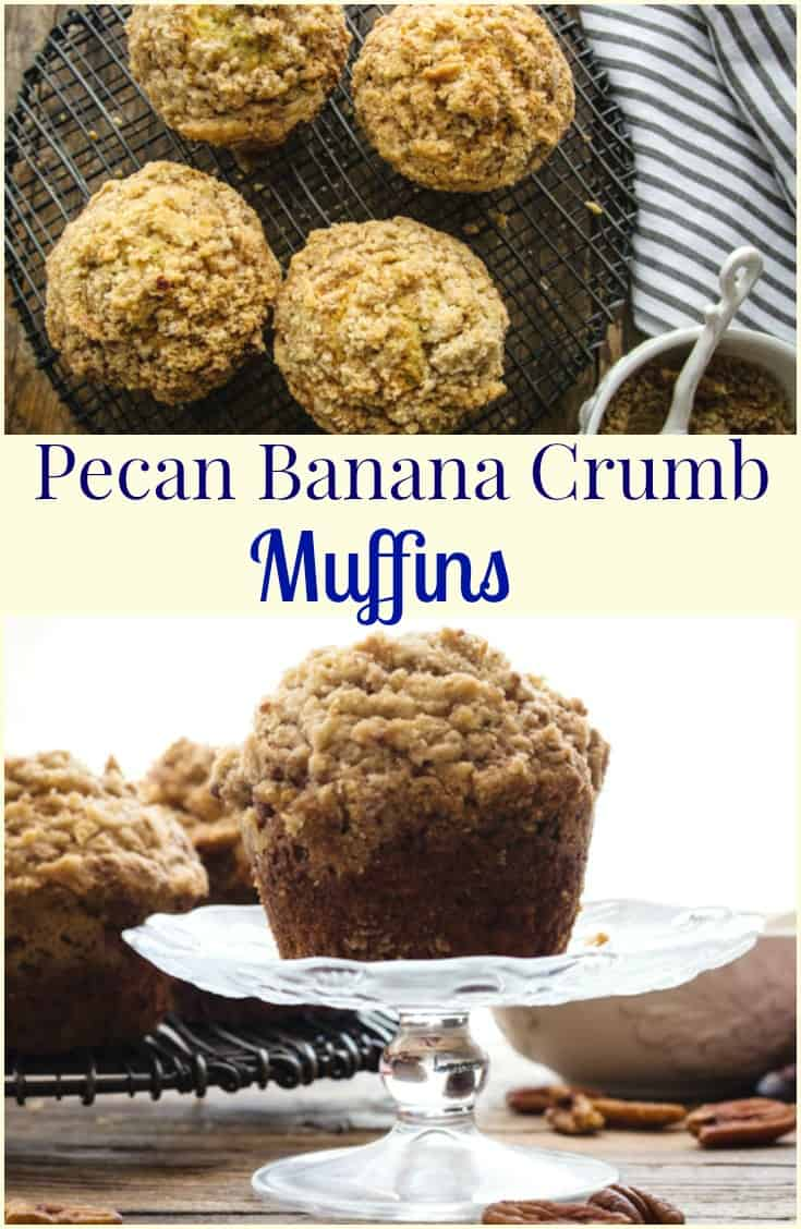 Pecan Banana Crumb Muffins, the easiest and best Banana Muffins with a crunchy yummy Pecan Streusel Topping.  Breakfast just got better!