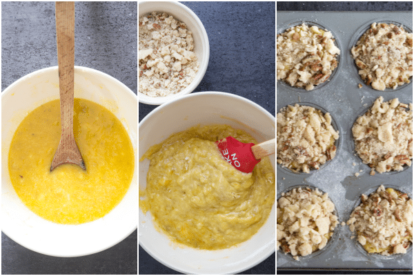 how to make banana muffins, mashed in the bowl, all mixed and in the tin ready for baking