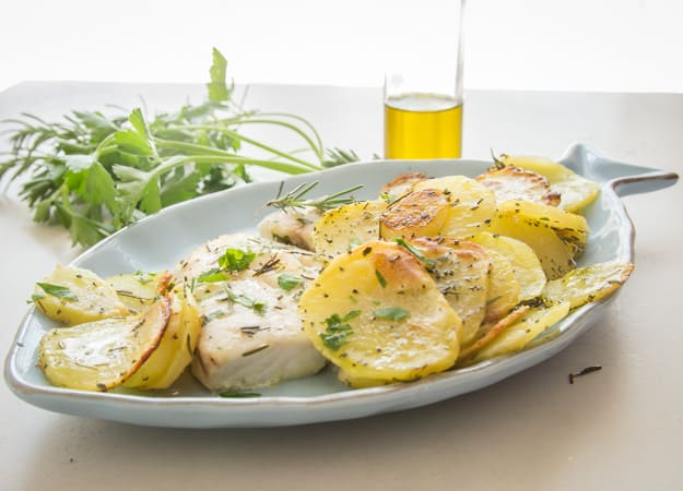 Italian Fresh Herb Baked Fish and Chips, a delicious healthy family dinner recipe, fresh herbs, olive oil and baked make it perfect.