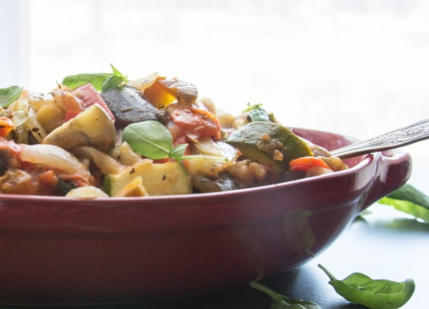 side view of cooked ratatouille