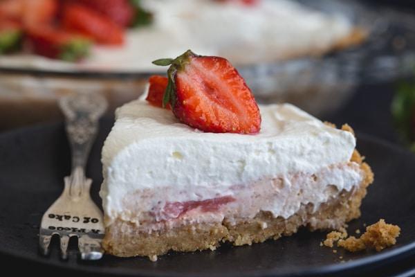 up close slice of strawberry cheesecake