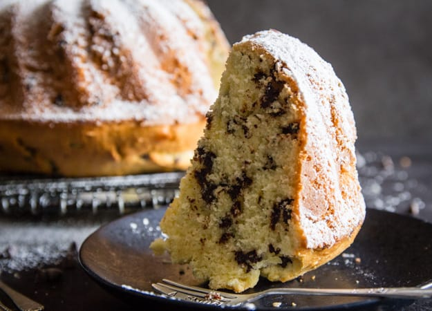 a piece of Italian Breakfast Cake on a black plate