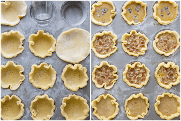 how to make butter tarts pastry formed and shaped in the muffin tin and filled