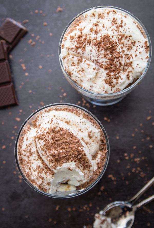 Tiramisu Ice Cream Parfaits, left over cake dipped in coffee & layered with a creamy no churn Tiramisu ice cream. Fast & Easy Dessert Recipe.