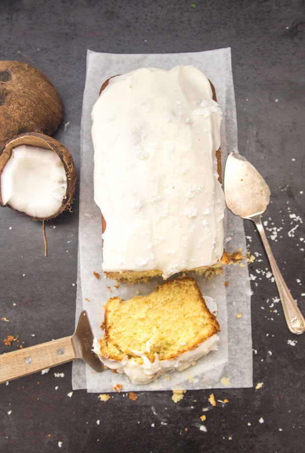 Coconut Pound Cake with a creamy Vanilla Frosting, an easy, simple sweet loaf recipe. The perfect dessert, snack or Breakfast treat.