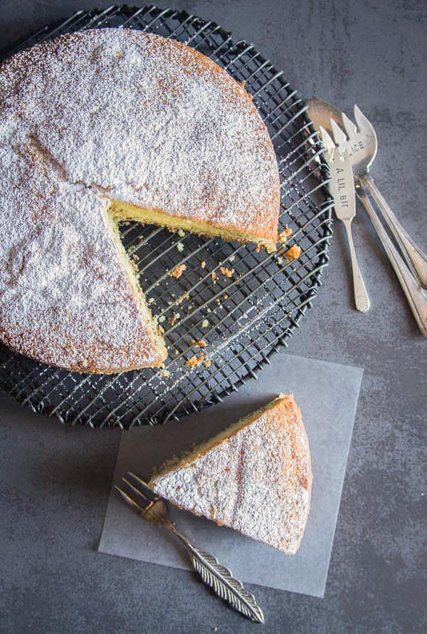 cinnamon cake with a slice cut out