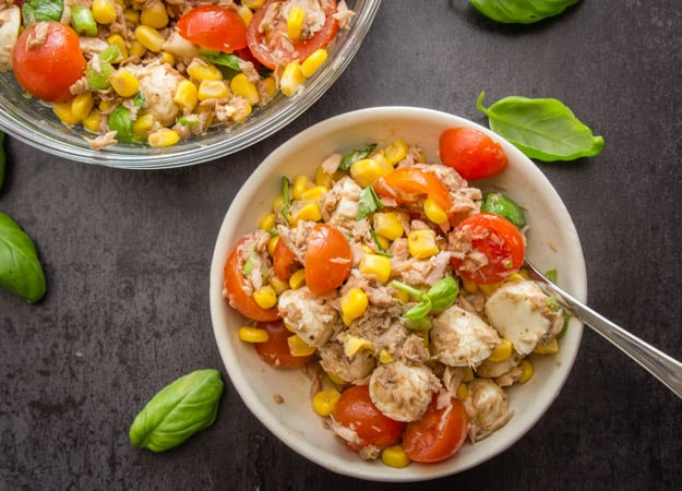 tuna corn salad in a bowl