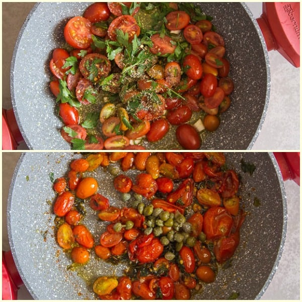 fresh grape tomato pasta before cooked and after