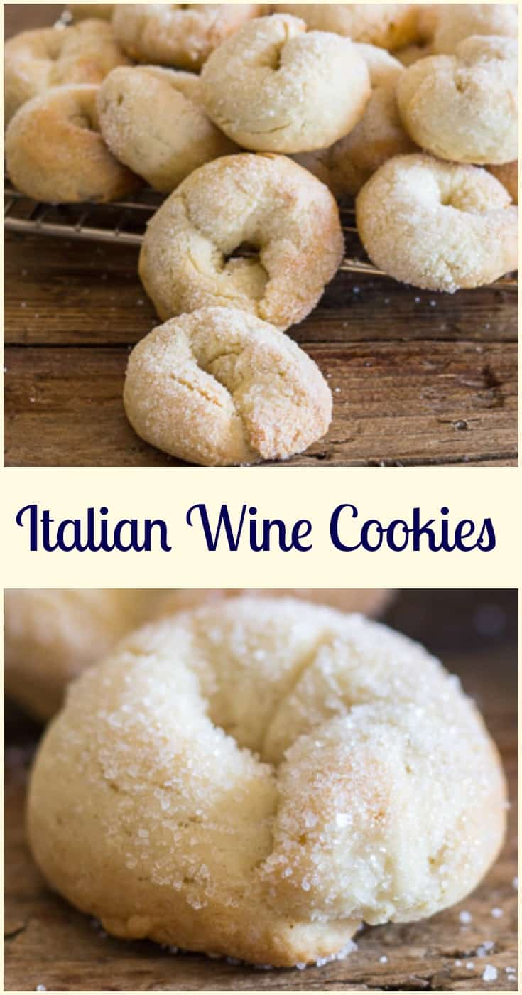 Wine cookies ciambelle al vino, a delicious crunchy not too sweet Italian fall cookie, made with white wine. Fast and easy. #cookies #winecookies #Italianrecipes #snack