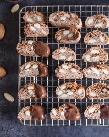 Chocolate Almond Biscotti, an Traditional Italian chocolate cookie, made with roasted almonds and honey. The perfect holiday cookie.