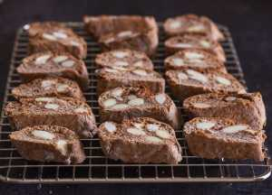 chocolate almond biscotti on a wire wrack