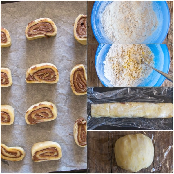 nutella pinwheel cookies how to make mixing the ingredients rolled dough, cut and ready for baking
