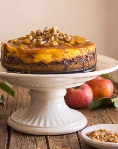 Maple Caramel Apple Cheesecake, an easy homemade dessert recipe, a filling made with fresh apples, and a delicious pecan caramel topping.