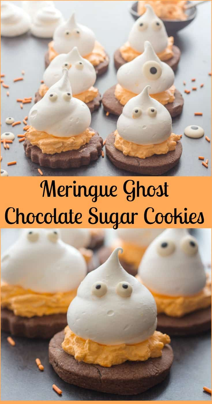 Meringue Ghost Chocolate Sugar Cookies, a delicious 3 layer Halloween treat, chocolate sugar cookie, a creamy filling and a meringue ghost. #halloween #cookie #ghost #meringue #frosting