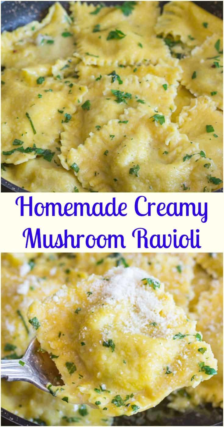 Homemade Creamy Mushroom Ravioli, a homemade egg pasta recipe filled with a creamy mushroom filling.  The perfect dinner idea. #ravioli #pasta #homemade #Italian #dinner #mushroom