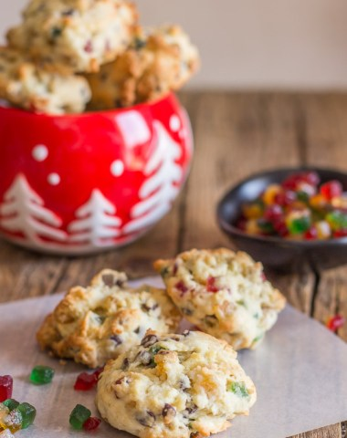 Fruitcake Cookies, filled with candied fruit, chocolate chips and nuts, the perfect Christmas Cookie recipe. An easy holiday dessert.