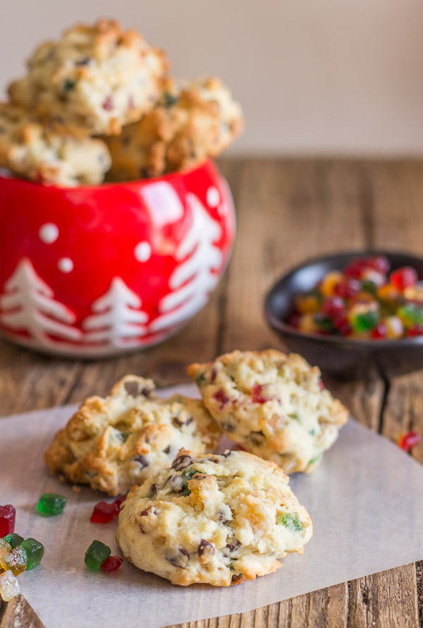 Chocolate Chip and Nut Fruitcake Cookies