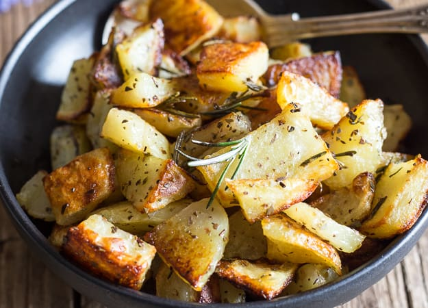up close roasted potatoes