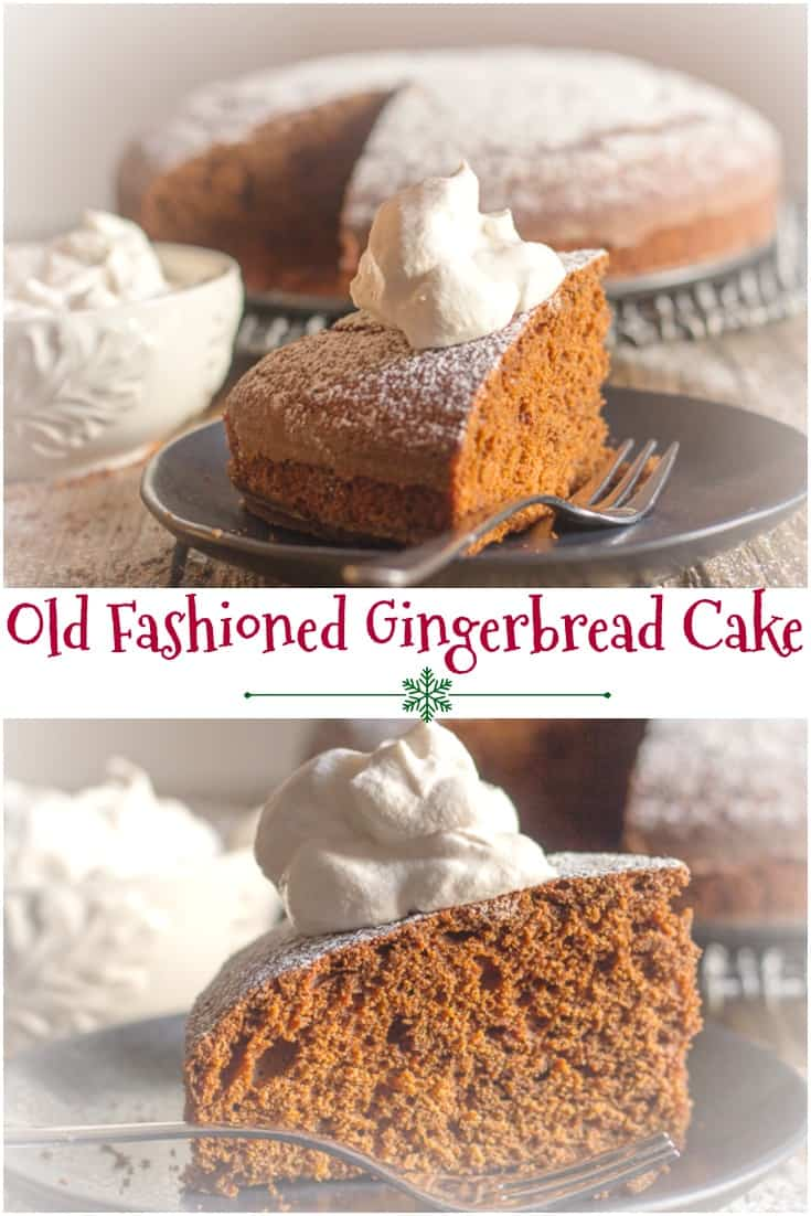 Old Fashioned Gingerbread Cake a simple, moist & easy Christmas Cake Recipe. Served with a spoonful of whipped cream makes it perfect. #cake #dessert #Christmas #gingerbread